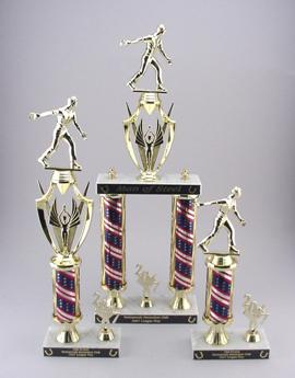 horseshoe pitching tournament trophy awards. Combo packs of three round column trophies.